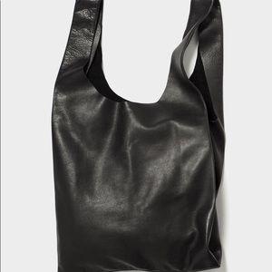 Baguu black leather tote